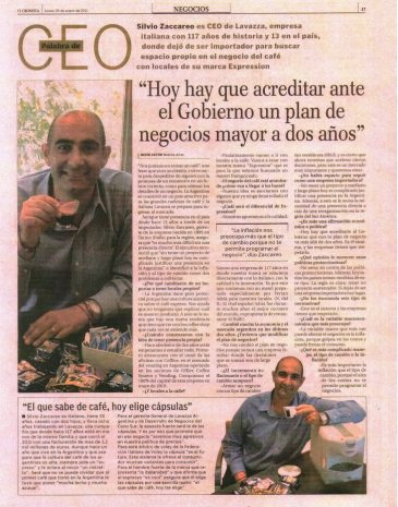 1Diario Cronista Comercial Entrevista Silvio Zaccareo CEO Lavazza
