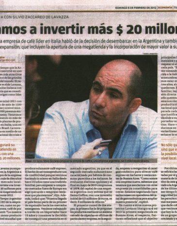 NO ME LO TOMA 4 Diario Tiempo Argentino Entrevista Silvio Zaccareo CEO Lavazza